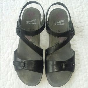 Dansko Black Leather Comfort Sandals